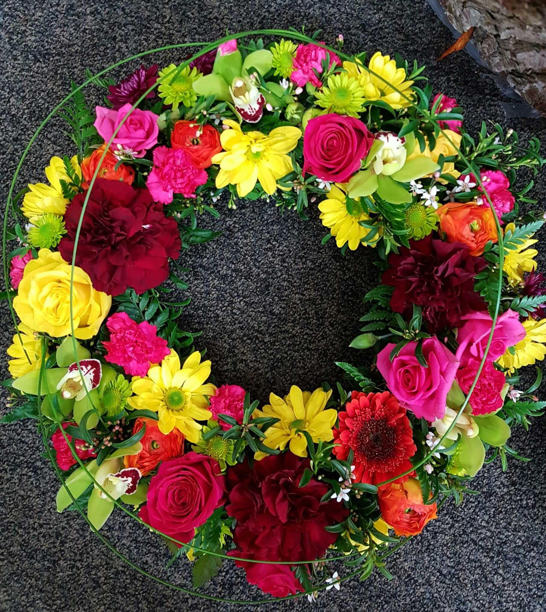 Floral wreath cherrywood florist tauranga homesympathyfloral wreath previous izmirmasajfo