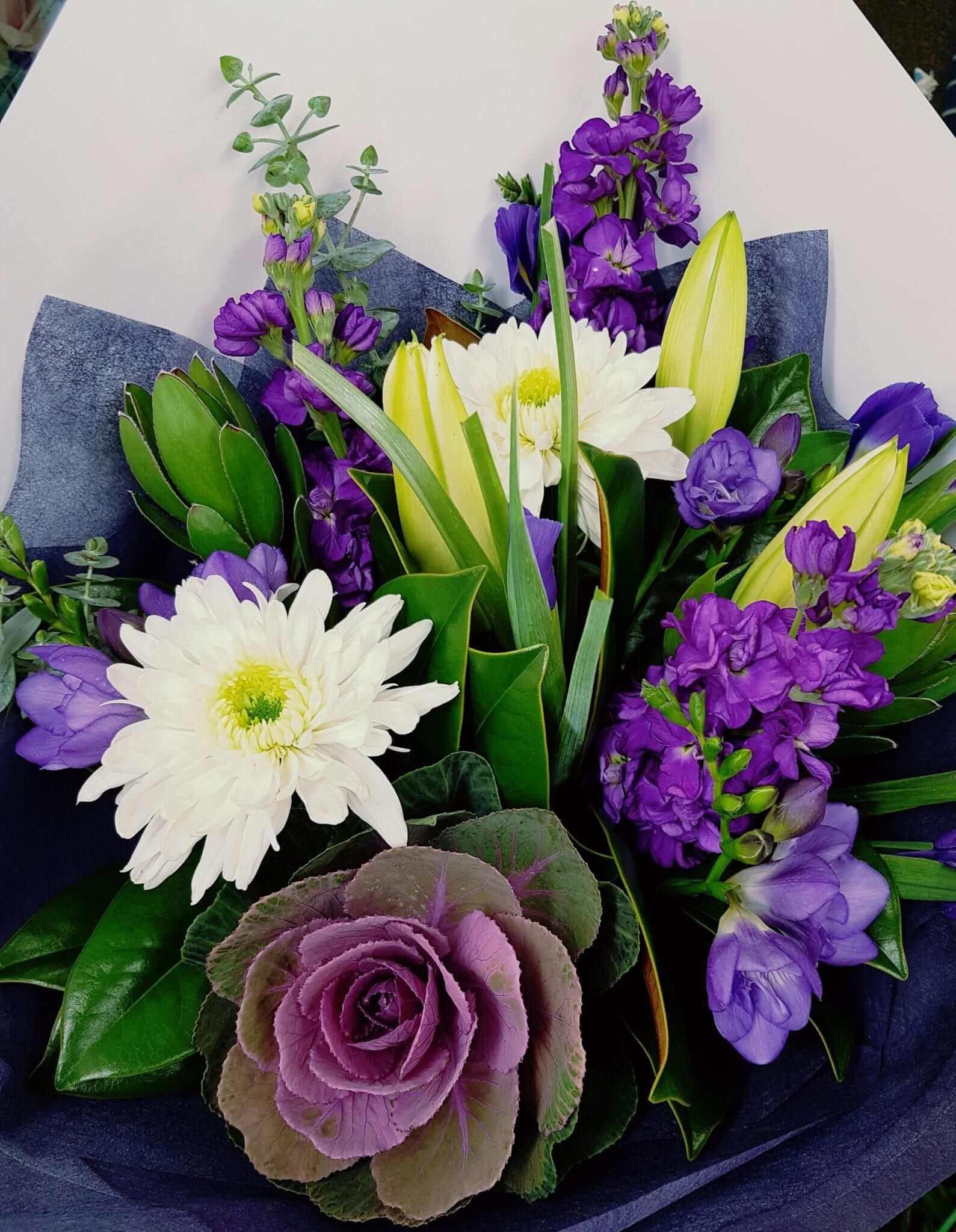 bouquet of blues, purples & whites