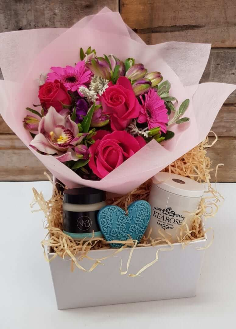 flowers and gift box